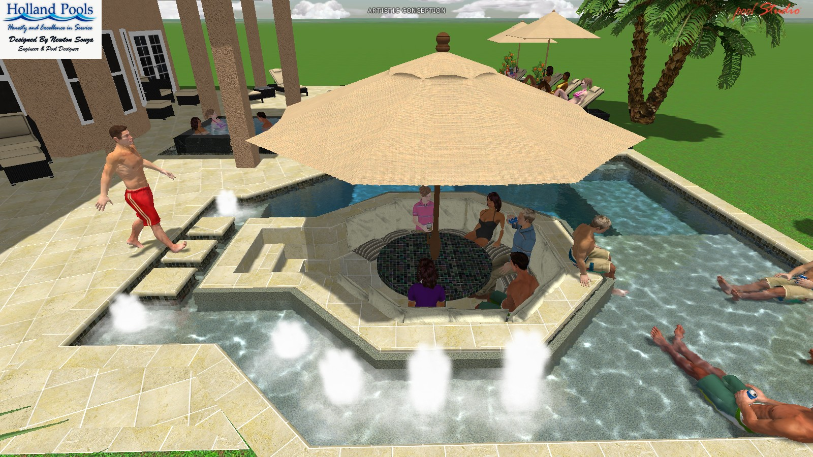 Also Designed To Entertain, The Saltwater Pool Features Several Social  Spaces Such As A Swim Up Table, Shallow Water Lounging Areas, Sunken  Seating, ...