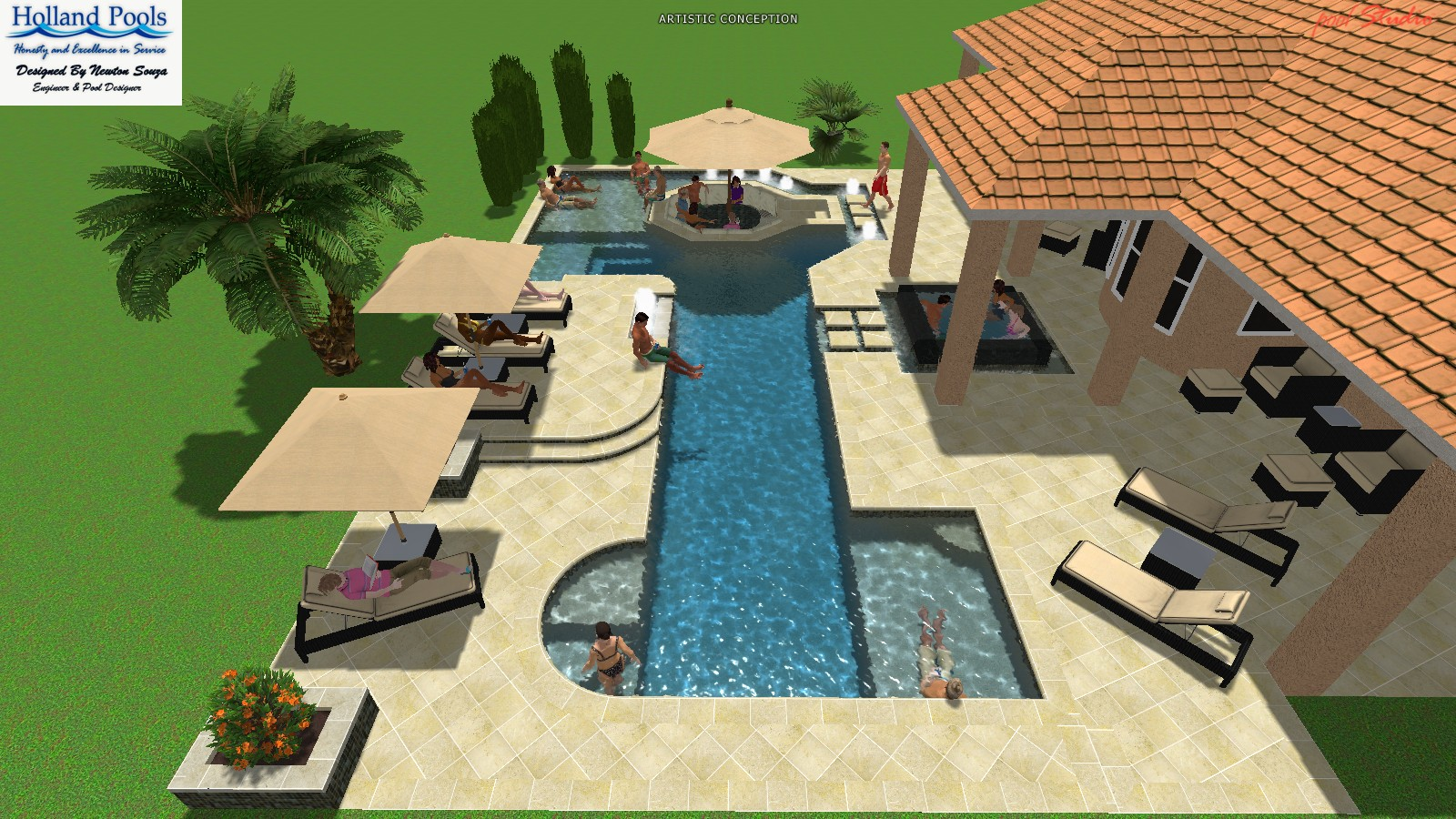 The Design Of A Pool Is Dictated By Its Function. The Homeowner Wants This  1000 Sq. Ft. Pool To Become Part Of His Fitness Routine So Its Design Spans  80 ...
