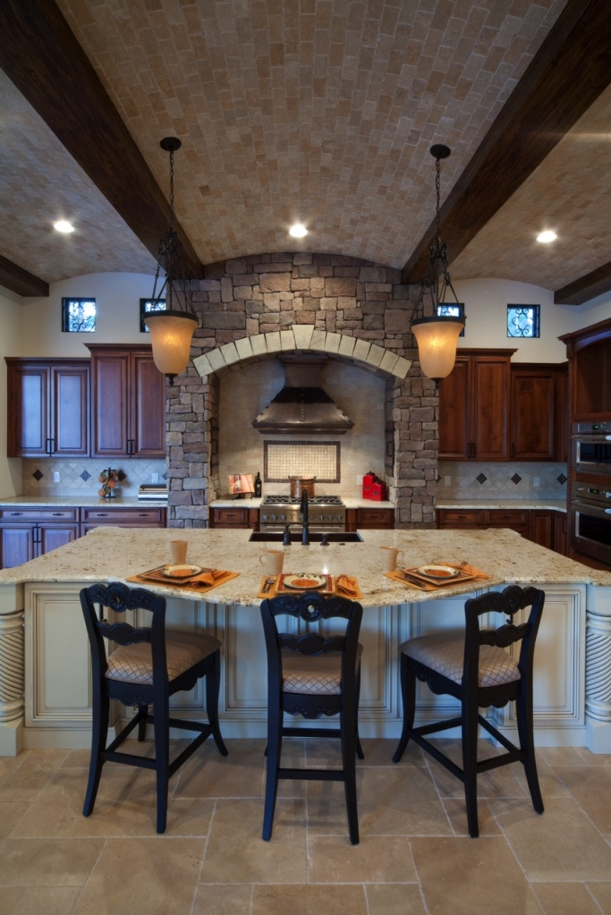 Brick multibarrel ceiling in kitchen of a home designed and built by Orlando Custom Builder Jorge Ulibarri