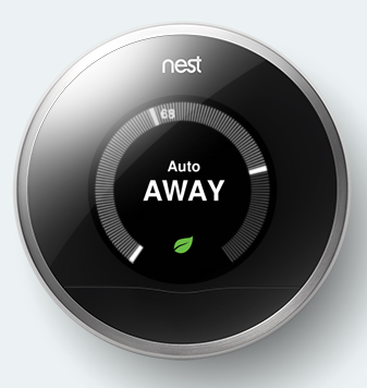 Nest Learning Thermostat with leaf icon